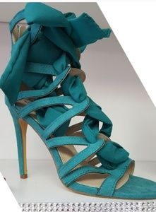 Pretty Teal Strappy Heel